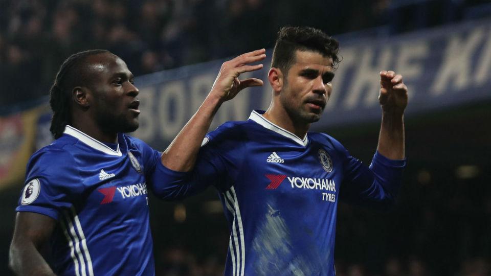 Selebrasi unik Diego Costa usai cetak gol pertama Chelsea